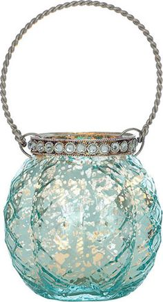 Turquoise Blue Mercury Glass Hanging Candle Holder (with rhinestones)