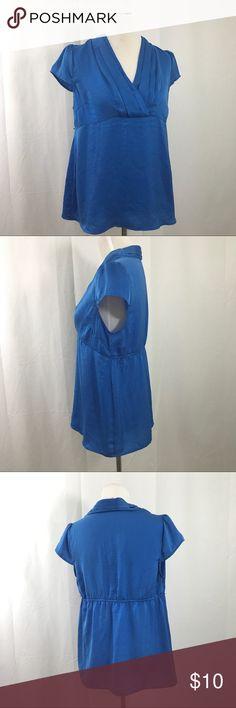 Motherhood Blue Maternity Empire Blouse M EUC.  Blue cross top with pleats and cap sleeves. Empire elastic waist. Has loops for belt. Bust 44 Motherhood Tops Blouses