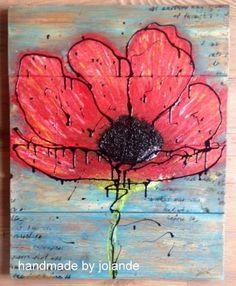 Schilderij gemaakt op een houten bord gemaakt van oude vloerdelen.