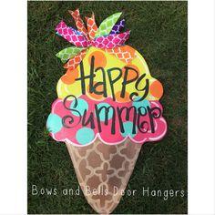 Ice cream cone door hanger beach door by BowsandBellsHangers, $38.00