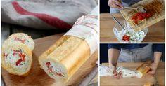 Baguette de queso y pimientos ¡de infarto! Baguette Relleno, Wraps, Wrap Sandwiches, Queso, Dairy, Appetizers, Cheese, Snacks, Dinner