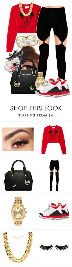 """Mickey Jay"" by dajvuuloaf ❤ liked on Polyvore featuring Lancôme, Forever 21, Michael Kors, Fantasy Jewelry Box, Boohoo and Juicy Couture"