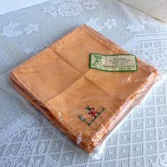 Vintage Napkin Set / Hand Embroidered Orange Tea Napkins / Chicken Napkins Made in Haiti by vintagepoetic on Etsy