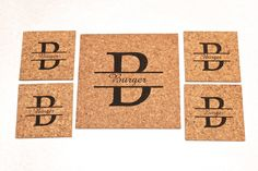 Personalized Cork Trivet and Coaster Set~Split Monogram