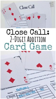 This addition card game is a super simple way to practice addition skills, but also encourage problem solving and deepen an understanding of place value. Even though it's simple to set up and play, the math will challenge and strengthen your kids skills. Easy Math Games, Math Card Games, Card Games For Kids, Dice Games, Mental Maths Games, Third Grade Math Games, Mathematics Games, Ea Games, Math Resources