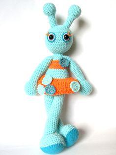 Alien girl crochet doll soft toy blue orange by KooKooCraft, €65.00