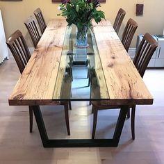 Wooden Dining Table Designs, Wood Table Design, Dining Room Design, Dinning Room Tables, Wooden Dining Tables, Glass Wood Table, Dining Furniture, Home Furniture, Esstisch Design