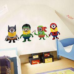 Fangeplus(TM) DIY Removable Minions Despicable Me Super Hero Cartoon Art Mural Vinyl Waterproof Wall Stickers Kids Room Decor Nursery Decal Sticker Wallpaper 23.6''x17.7''