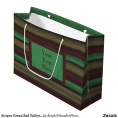 Get full color Green gift bags from Zazzle. Each one of our gift bags is decorated with fantastic designs, images, or artwork. Unique Wrapping Paper, Large Gift Bags, Green Gifts, Green Colors, Stationery, Wraps, Stripes, Shopping Bags, Yellow