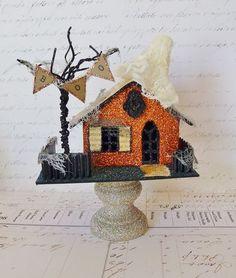 vintage style, glittered Halloween putz house