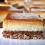 SCD Cinnamon Swirl Caramel Cheesecake Bars (*Substitute honey for maple syrup / coconut nectar & use SCD yogurt. Greek Sweets, Greek Desserts, Köstliche Desserts, Sweets Recipes, Raw Food Recipes, Food Network Recipes, Delicious Desserts, Caramel Cheesecake, Cheesecake Bars