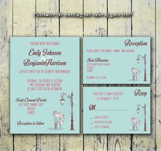 DIY Printable Wedding Invitation PDF Set - Couple in Love in Baby Blue on Etsy, $20.00