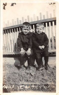 Black and White Vintage Snapshot Photograph 2 Boys Baby Yard Chubby 1920's