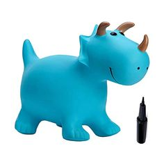 Babe Fairy Jumping Horse with Pump- Bouncy Horses Animals Hopper-Toddlers Inflatable Bouncing Horse Toys (Blue Dinosaur) Soft Play Equipment, Unique Gifts For Kids, Blue Pumps, Toddler Toys, Piggy Bank, Things That Bounce, Babe, Fairy, Horses