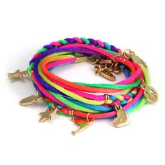 Neon Braided Wrap Bracelet with Gold Charms #neon #bright #color  #ettika #jewelry #accessories #spring  #boho