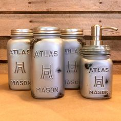 A personal favorite from my Etsy shop https://www.etsy.com/listing/387011548/rustic-silver-mason-jar-canister-set