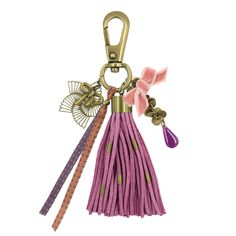 """Quelques perles sur un pompon, des rubans scintillants, colorés ou """"effet croco"""" à suspendre sur un mousqueton! On ajoute des perles et des breloques et le tour est joué!!!! #LaDroguerie #Bijoux"""