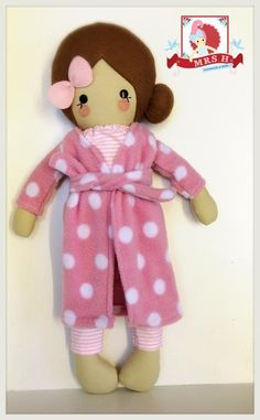 """19"""" Handmade doll wearing removable dressing gown, pyjama top and bottoms.CE marked and suitable from birth.Handwash OnlyA Mrs.H Handmade"""