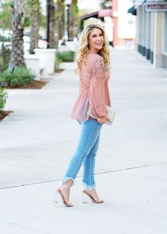 Embellished lace top and frayed ripped jeans