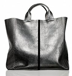 Track Tote in Argento python