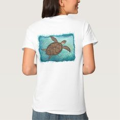 Apparel • Hawksbill Sea Turtle watercolor (Full painting version with turtle logo on front, for light-colored apparel) • Wildlife artist Amber Marine ••• AmberMarineArt.com