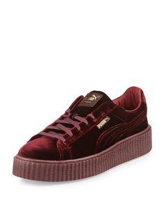 Men's Velvet Creeper Sneakers, Dark Red