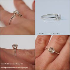 6mm Double Rose Cut CZ Engagement Ring, Sterling Silver Knife Edge Solitaire, Round Antique Cut Cubic Zirconia, Diamond Simulant Ring Engagement Ring On Hand, Solitaire Setting, Diamond Simulant, Handmade Rings, Conflict Free Diamonds, Anniversary Rings, Promise Rings, Sterling Silver Rings, Shots