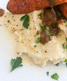 Creamy vegan garlic cauliflower mash -  gluten, grain & nut free also