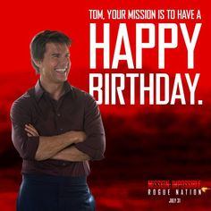 Happy Birthday Tom! #HappyBirthday #TomCruise Mission Impossible Rogue, Happy Birthday Tom, Rogue Nation, Tom Cruise, Rogues, Toms, Instagram Posts, Fictional Characters, Fantasy Characters