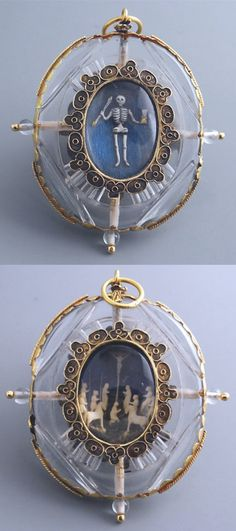 """Rock crystal pendant, shaped as a locket with two views, gold-mounted. On one side is a scene of Golgotha, composed of small figures in carved ivory. The other is an exceptional """"memento mori"""", showing a skeleton in enamelled gold, a hand holding the hourglass of Time and the other a deadly arrow. Milan, late 16th century - early 17th century."""