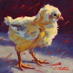 Gutsy Chick by Cheri Christensen Oil ~ 6 x 6 Animal Sketches, Animal Drawings, Art Drawings, Chicken Painting, Chicken Art, Wildlife Paintings, Animal Paintings, Oil Paintings, Modern Art Paintings
