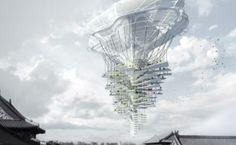 Light Park, un gratte-ciel qui plane au-dessus des rues de Pékin comme un dirigeable géant
