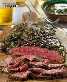 Looking for a twist on a grilled flank steak recipe? Fresh herbs and our EVOO Tuscan Italian Dressing makes the perfect marinade and sauce to complement our grilled flank steak. Bbq Flank Steak, Chimichurri Sauce Recipe, Steak With Chimichurri Sauce, Flank Steak Recipes, Fish And Chicken, Barbecue Recipes, Beef Dishes, What To Cook, Sauce Recipes