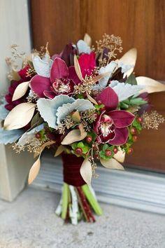 Elegant Wedding Bouquet: Sangria Cymbidium Orchids, Fuchsia & Merlot Chrysanthemums, Red Hypericum, Broad Leaf Dusty Miller, Metallic Gold Spray Painted Seeded Eucalyptus, Hand Tied With Burgundy Velvet Ribbon****