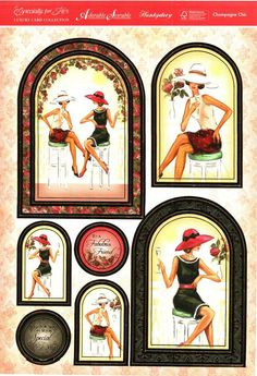 Hunkydory Especially for Her die cut toppers & card - Champagne Chic, elegant ladies Debbie Moore, Decoupage Printables, Hunkydory Crafts, Ladies Who Lunch, 3d Craft, Cardmaking And Papercraft, Paper Craft Supplies, Graphic 45, Printable Cards