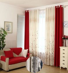 Red curtains living room ideas lovable red curtain ideas for living room designs with best red Red Curtains Living Room, Living Room Red, Home Curtains, Living Room Bedroom, Window Curtains, Leaf Curtains, Bay Window, Luxury Curtains, Modern Curtains