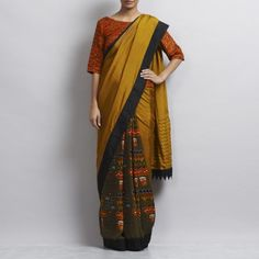 Green Silk Totemic Elements Saree
