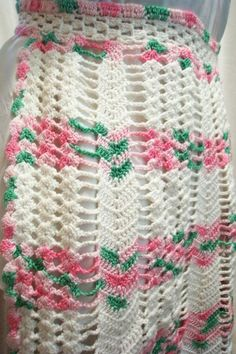 Vintage Pink Floral Crochet Apron by retrothreads on Etsy, $12.00