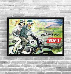 Affiche BSA 1951 - Garage Atelier Vintage - Limited Edition