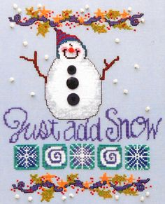 Sisters and Best Friends SNOWMAN Just Add Snow - Counted Cross Stitch Pattern Chart. via Etsy.