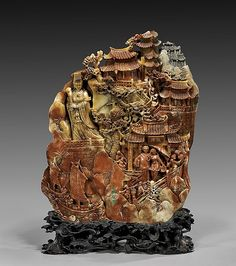 """Very intricately carved, colorful Chinese soapstone """"mountain""""/panel; with elaborate overlapping figural scenes Chinese Figurines, Soapstone Carving, Bone Crafts, Artificial Stone, Rocks And Gems, Gems And Minerals, Chinese Art, Asian Art, China"""
