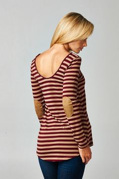 Wine and Taupe Striped Top – Texas Two Boutique