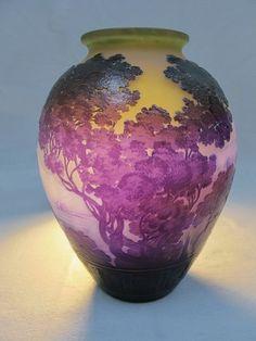 Emile Galle LAKE COMO glass vase, signed.
