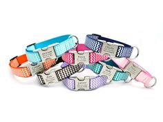 Chevron Stripe Personalized Dog Collar with Laser Engraved HYBRID Buckle - 8 COLORS