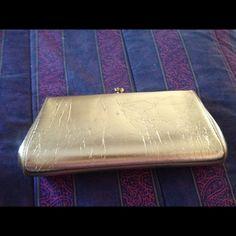"Gold Clutch Vintage Gold foil-like clutch. Size: 11""L x 5""H Chain inside. No trades Bags Clutches & Wristlets"