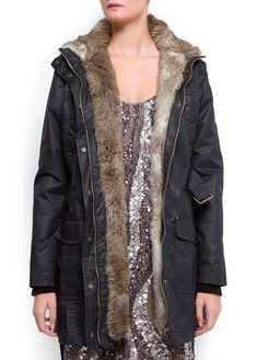 Outlet - Mujer - Abrigos - Abrigo capucha pelo