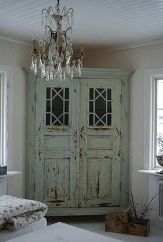 chippy cabinet ... chandelier