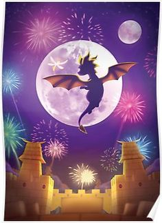 'Year of the Dragon' Poster by ravinesque-art First Video Game, Video Game Art, Video Games, Spyro And Cynder, Doom 3, Spyro The Dragon, Year Of The Dragon, Framed Prints, Canvas Prints