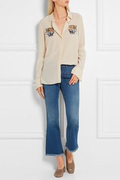 Stella McCartney - Cropped Frayed Mid-rise Flared Jeans - Mid denim - 33