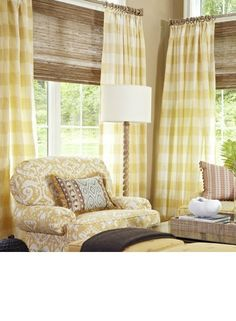 Fan Pleated curtains and Kirsch Woven Shades from the Orange Zest Fabric Collection Gingham drapes always look nice in any color. Window Coverings, Window Treatments, Buffalo Check Curtains, Plaid Curtains, French Curtains, Woven Shades, Bamboo Shades, Custom Made Curtains, French Country Living Room